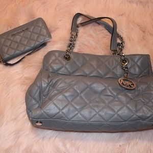 MICHAEL KORS Susannah Grey Quilted Leather Tote